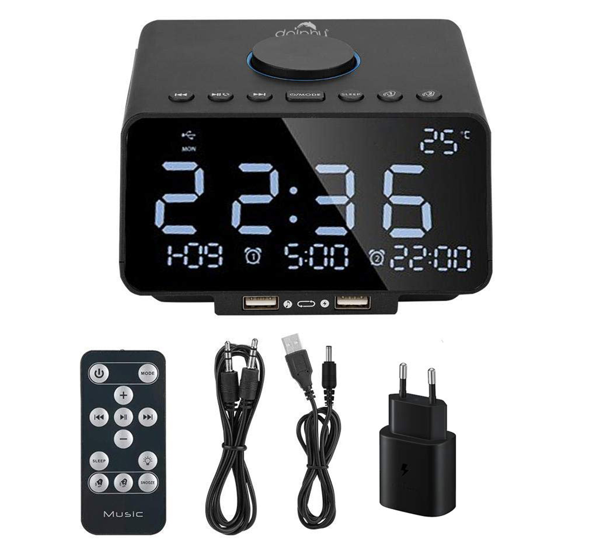 Dock Station Dual Alarm Clock, FM Radio, LED Display, Wireless Bluetooth Player