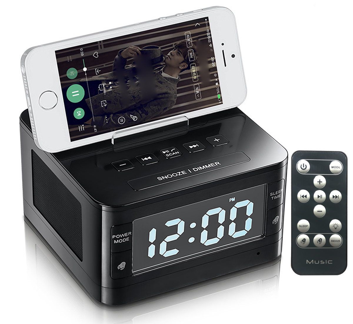 Dock Station Dual Alarm Clock, FM Radio with LED Display