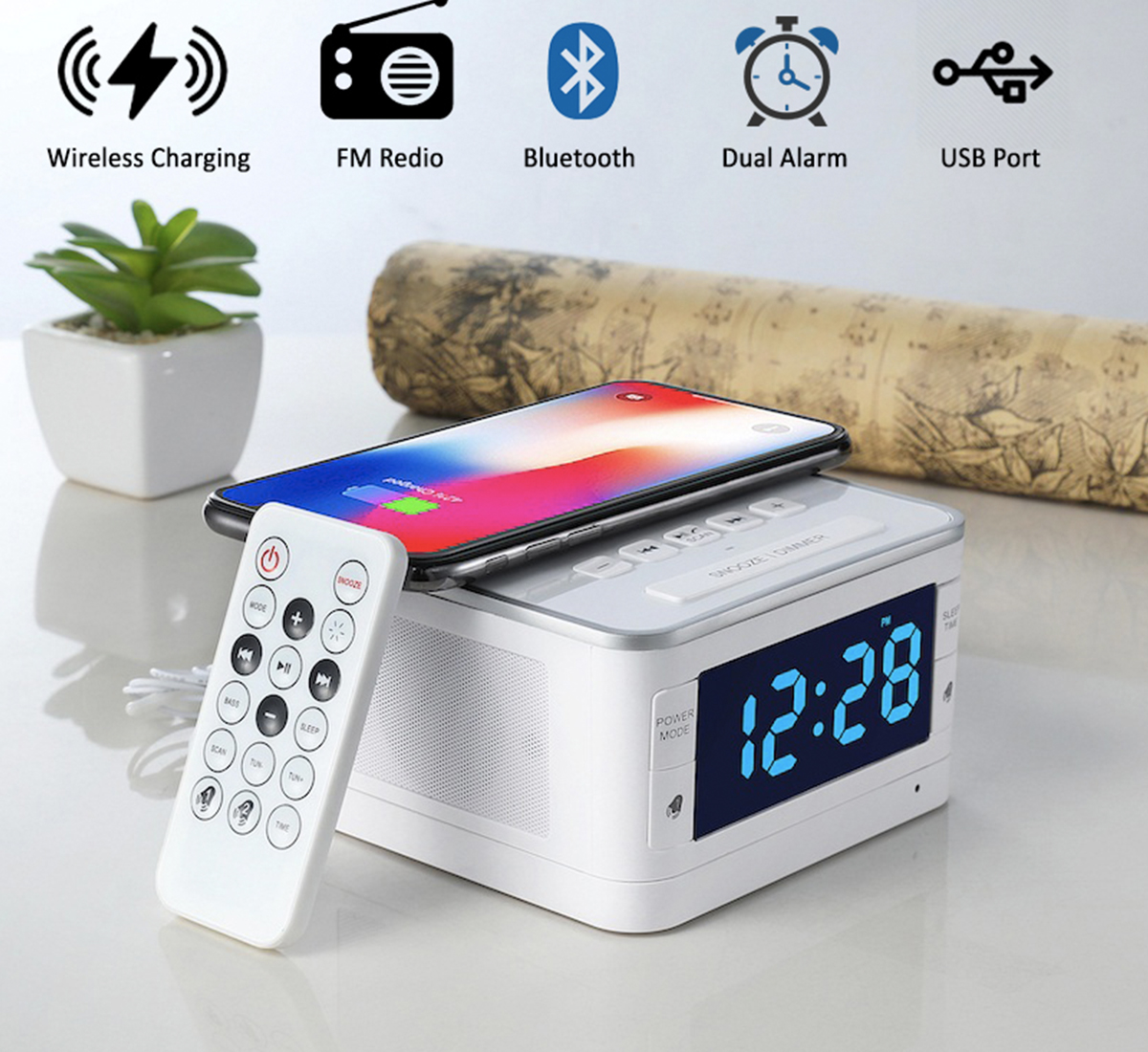 Dock Station Dual Alarm Clock, FM Radio, LED Display with Wireless Bluetooth Player