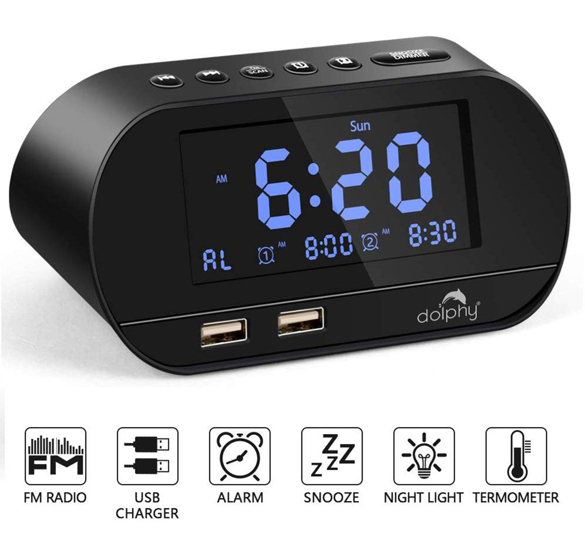 Digital dock station Dual Alarm Clock with FM Radio