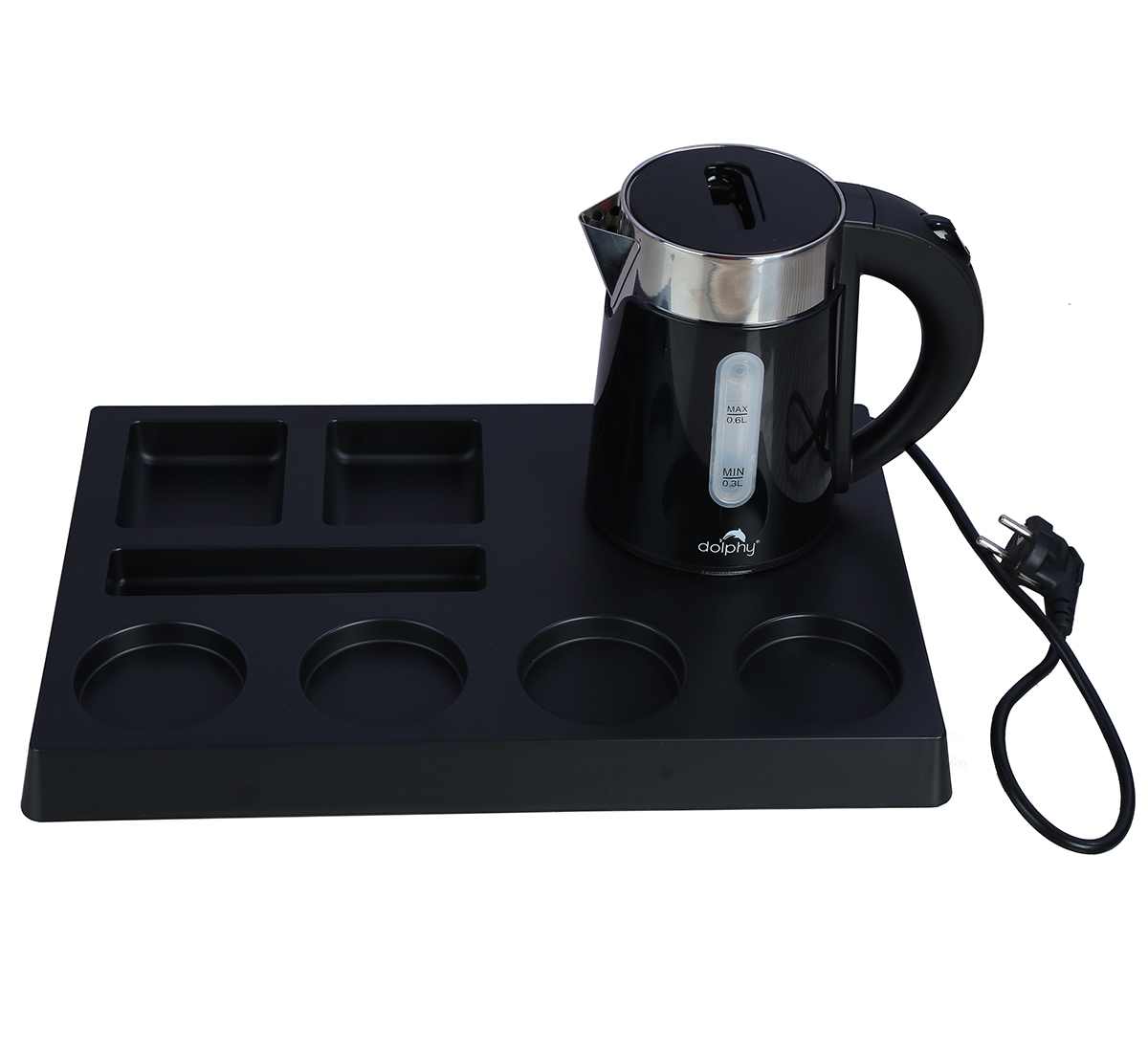 Electric Kettle with Tray Sets, 0.6-L, Black-DKTL0005