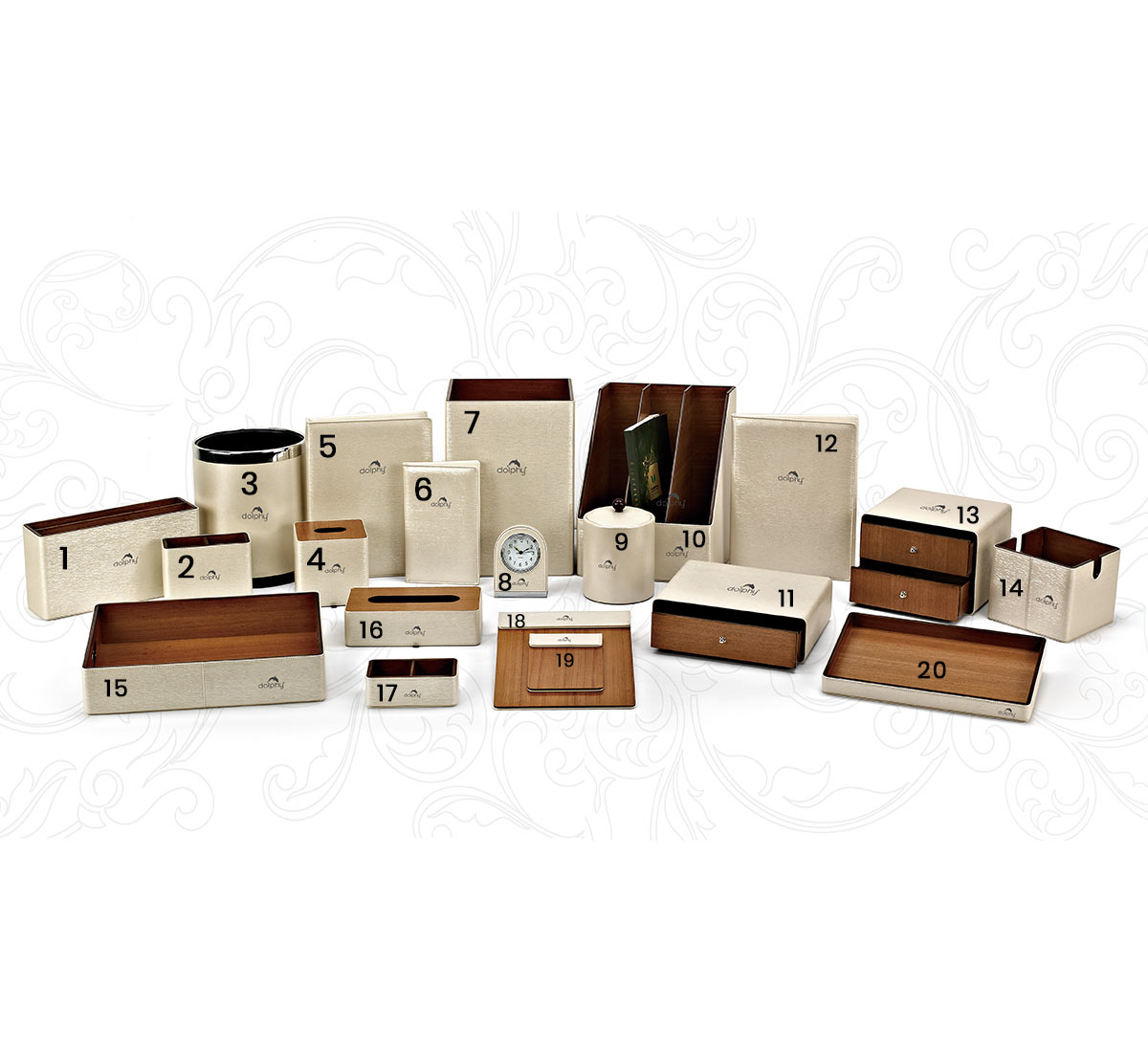 Hotel room leather accessories set